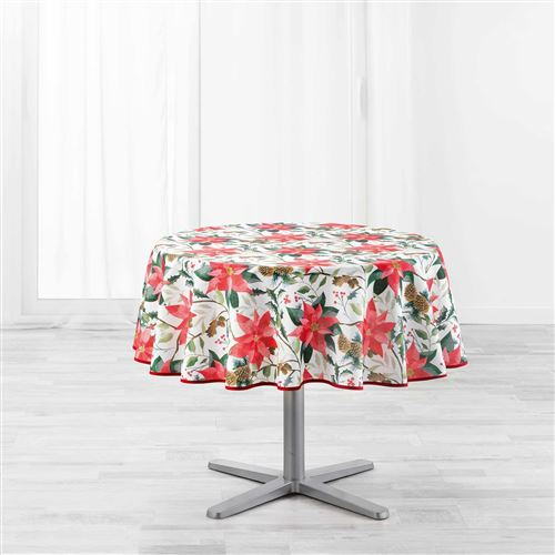 Nappe ronde (0) 180 cm polyester imprime la rosiere Blanc
