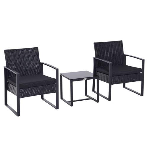 Salon de jardin 2 places - 3 pièces 2 chaises avec coussins + table basse - plateau verre trempé - résine tressée 4 fils imitation rotin noir