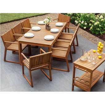 Ensemble de jardin en bois, 6 chaises, grande table et table à ...