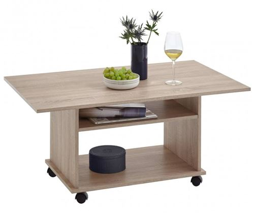 Table basse avec rangements coloris chêne - L.100 x H.44 x P.60 cm -PEGANE-