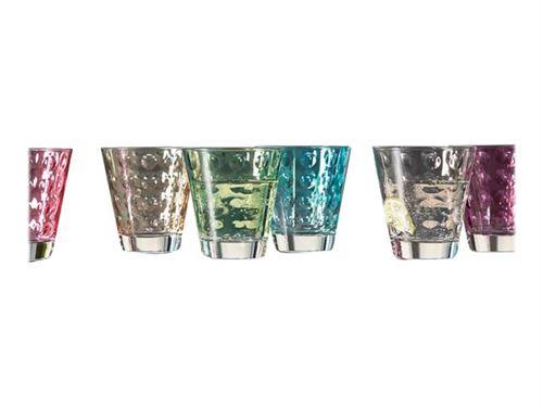 Verres à eau avec cercles en relief multicolore - Lot de 6 assortis OPTIC