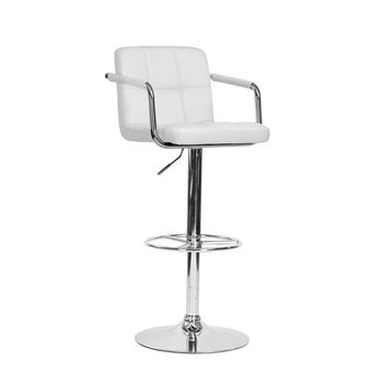Tabouret Bar Chaise Fauteuil Rglable Simili Blanc