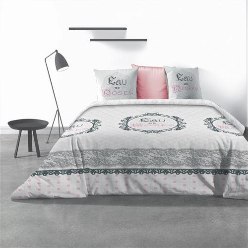 Parure de lit 2 personnes Eau de rose avec housse de couette et taies d'oreiller imprime 240 x 220 cm Les Ateliers du Linge