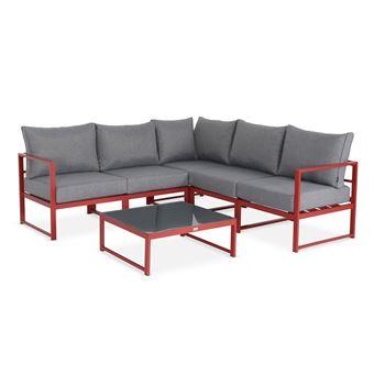 Salon de jardin 5 places Stratum en aluminium, structure rouge et coussins  gris chiné, design et modulable, coussins épais