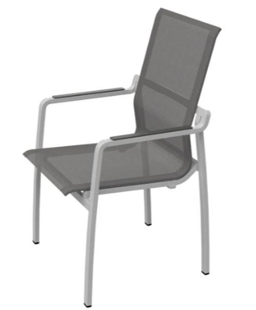 Fauteuil de jardin empilable gris foncé toile gris foncé