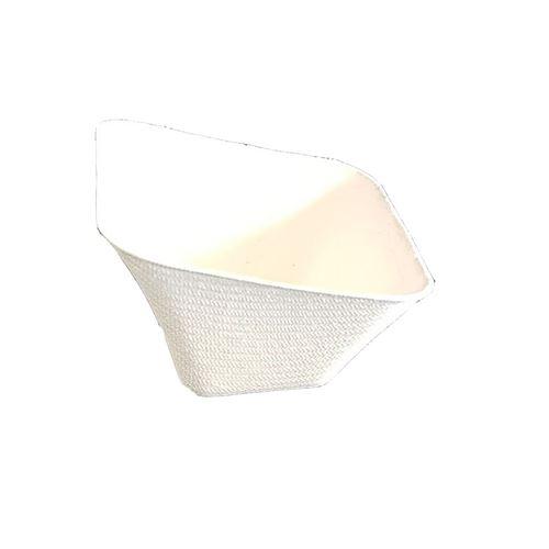 50 coupelles carrées canne à sucre bio 6.5cm blanc