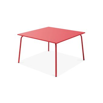 Table de jardin carrée en métal, Palavas - Rouge - Mobilier de ...