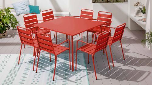 Table de jardin carrée en métal, Palavas - Rouge - Mobilier ...
