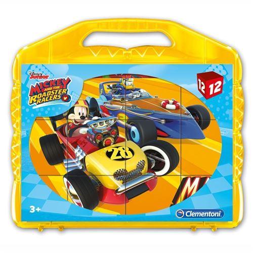 Clementoni casse-tête de blocs Cubi 12 - Mickey mouse Race 12 blocs