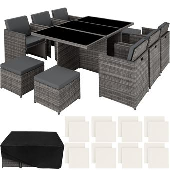 TECTAKE Salon de jardin NEW YORK Résine Tressée Structure Aluminium 6  Chaises 4 Tabourets 1 Table Gris