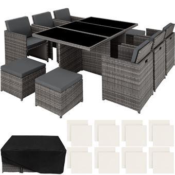Tectake salon de jardin new york r sine tress e structure Mobilier de jardin en resine tressee