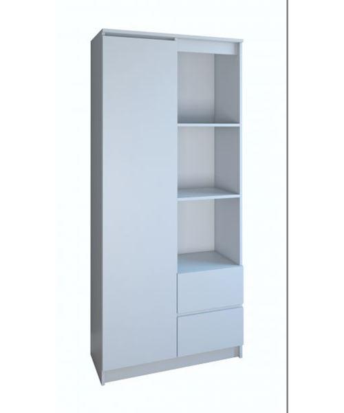 LIVORNO - Bibliothèque 7 niches + 2 tiroirs bureau chambre - blanc