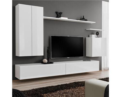 Meuble tele suspendu blanc SOLEDAD 3-L 270 x P 40 x H 160 cm- Blanc