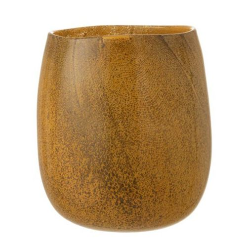 Paris Prix - Vase Rond En Verre bullo 31cm Orange