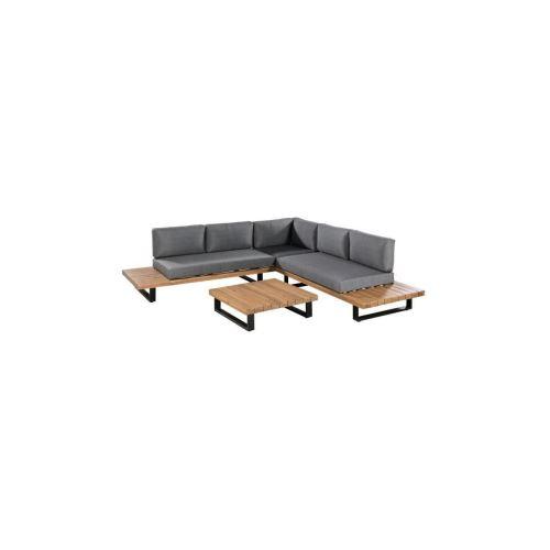 Aluxe Salon De Jardin Avec Canape Dangle L 255 X L 255 Cm + Table Basse L  82 X L 82 Cm - Bois Dacacia Et Pieds En Aluminium