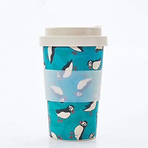 Tasse à café en bambou réutilisable - Macareux sarcelle