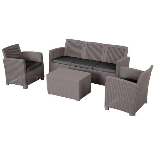 Ensemble salon de jardin 5 places grand confort table basse rangement intégré plastique PP imitation rotin coussins gris