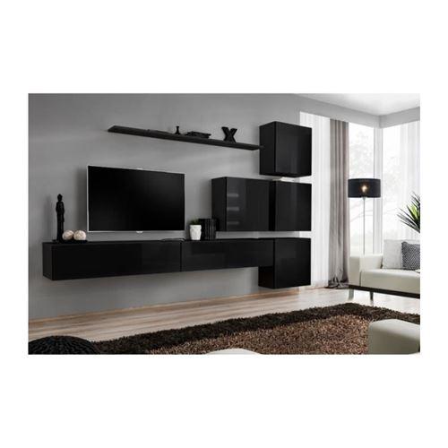 Ensemble meuble salon mural SWITCH IX design, coloris noir brillant.