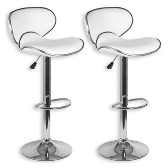 Lot de 2 tabourets de bar LOUNGE chaise haute pour cuisinecomptoir, réglable en hauteur et pivotante, revêtement synthétique blanc