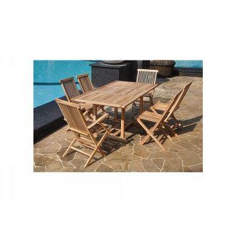 Le Wetar : Salon De Jardin Teck 6/8 Pers. 4 Et 2 Fauteuils Chaises Et Table  Rect