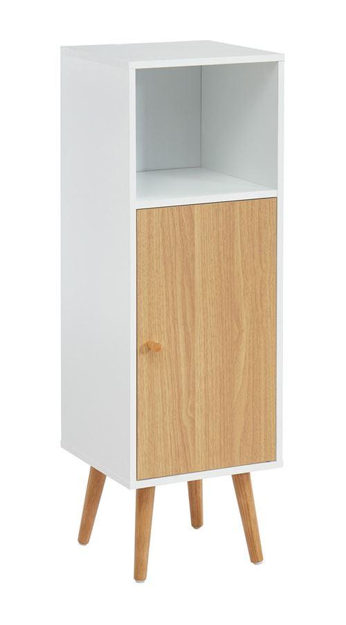 Colonne de rangement salle de bain coloris blanc / chêne - 30 x 29.5 x 90 cm -PEGANE-