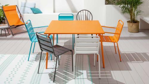 Table de jardin carrée en métal, Palavas - Orange - Mobilier ...