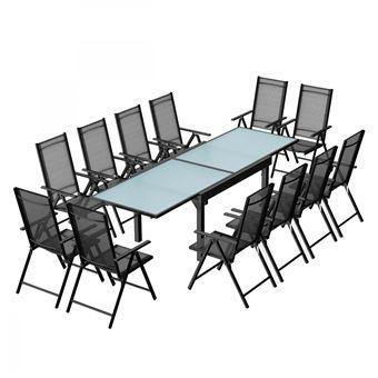 Salon de jardin Breshia 12 Aluminium et Textilène + 12 fauteuils ...