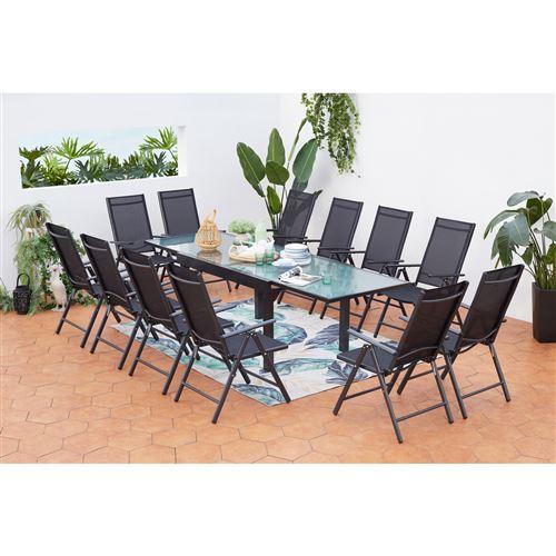 Salon de jardin Breshia 12 Aluminium et Textilène + 12 fauteuils pliables