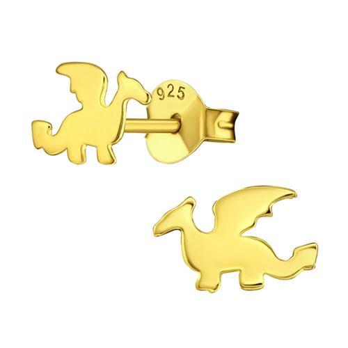 Plaqué or Sterling Silver Dragon Boucles d'oreilles