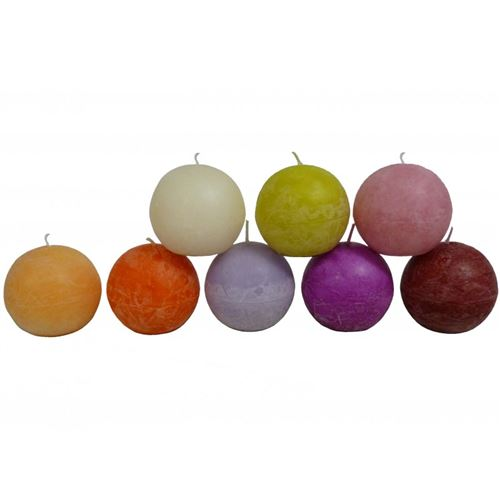 Bougie de Cire Forme Boule Parfumée Fruitée ou Florale pour Photophores ou à Poser 6x6x6cm