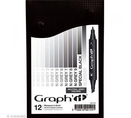 Set 12 Marqueurs à alcool Graph'it - Neutral Greys colors - Graph it