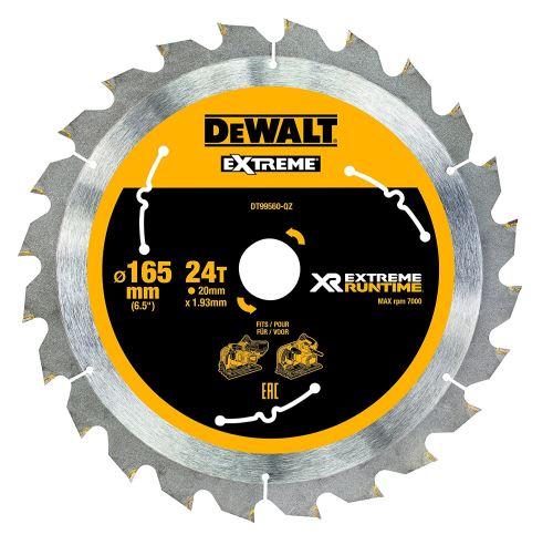 DeWalt XR Runtime circulaire lame de scie Extreme Batterie, 1 pièce, 165/20 mm 24 WZ/FZ, dt99560 de QZ