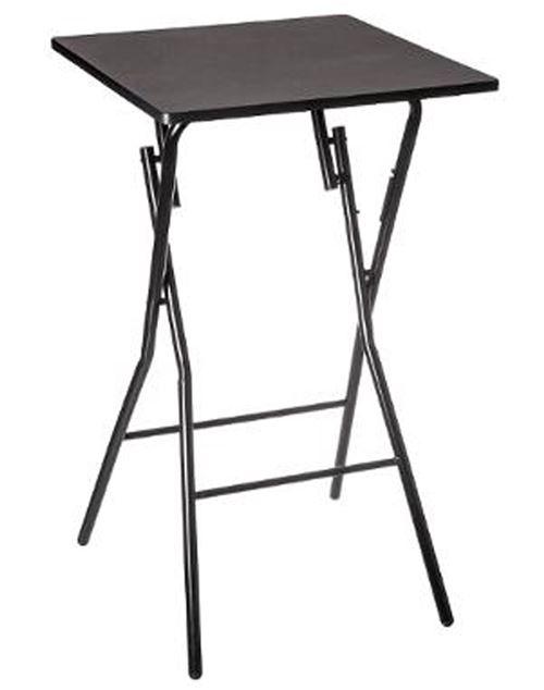 Table de bar pliante en métal coloris noir - L.60 x l.60 x H.103 cm -PEGANE-