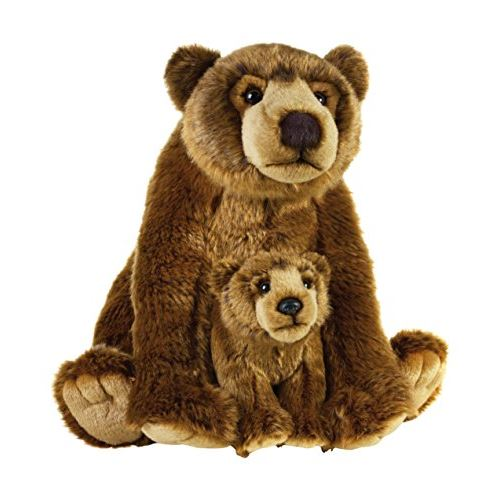 Peluche en peluche National Geographic (2 pièces), mère avec bébé Grizzly NSG