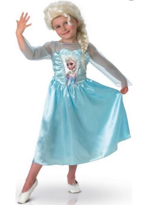 Deguisement de luxe reine des neiges : elsa + perruque 7/8 ans - costume fille disney - enfant - carnaval