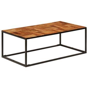 Table Basse 110x40x60 Cm Bois D Acacia Solide Et Acier Achat