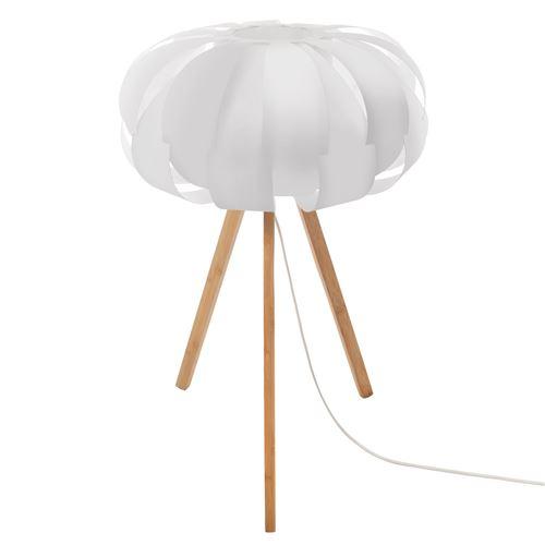 Lampe en bambou scandinave Blis - H. 55 cm - Blanc