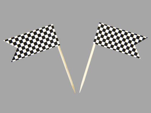 Sachet de 10 petits Drapeaux à Damier en papier - 2,8 x 5 x 8 cm