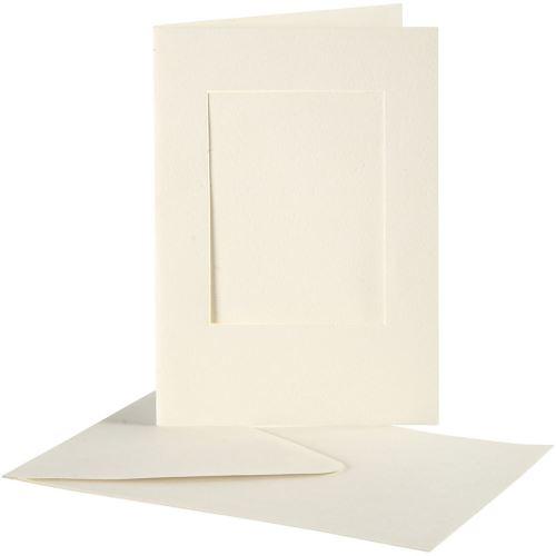 Creativ Company Cartes passe-partout, dimension carte 10,5x15 cm, blanc cassé, carré, 10 set