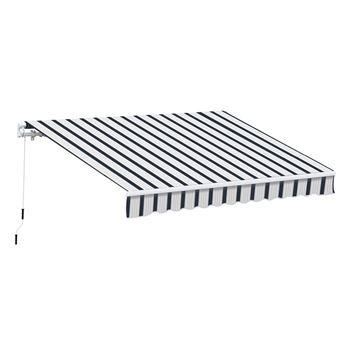 Store Banne Manuel De Jardin Terrasse Auvent Retractable Structure En Alu 3 95l X 3l M Bleu Et Blanc