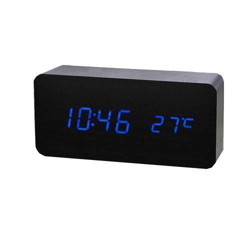 Commande Vocale Calendrier Thermomètre Numérique Led Alarme Horloge en Bois Usb / Aaa Noir PL190
