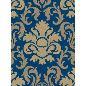 Carat Damas Paillettes Papier Peint Or Et Bleu P S 13343 60