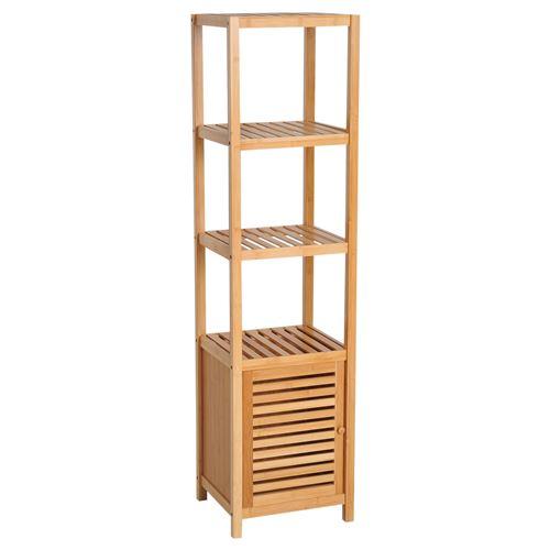 Meuble colonne rangement salle de bain bambou design naturel 36L x 33l x 140H cm 2 étagères 4 niveaux + placard