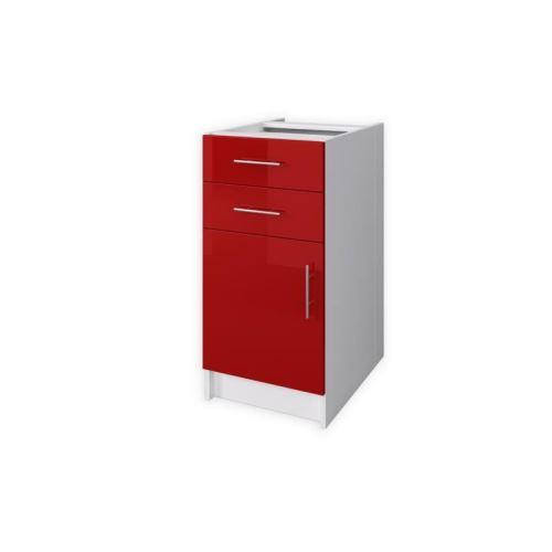 OBI Caisson bas de cuisine avec 1 porte, 2 tiroirs L 40 cm - Blanc et rouge laqué brillant