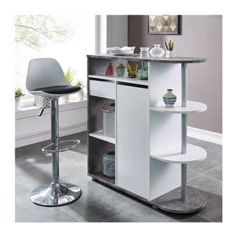 DAMIA Table bar style contemporain blanc mat et effet béton - L 100 x l 40  cm