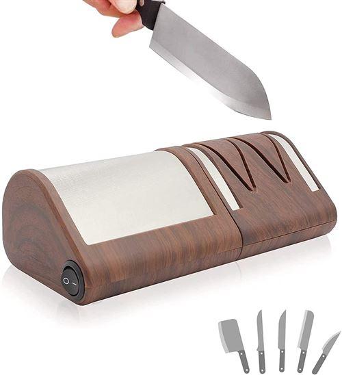 FISHTEC® Aiguiseur Electrique Couteaux Métal ou Céramique - Affûteur Motif Bois