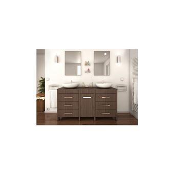 ERA Ensemble salle de bain double vasque L 150 cm - Décor bois legno sombre