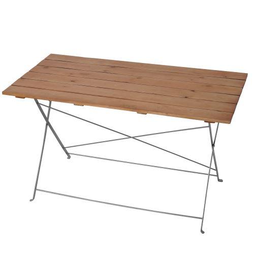 Table de jardin ou de brasserie Berlin, pliable, bois huilé, 120x60x70cm ~ nature