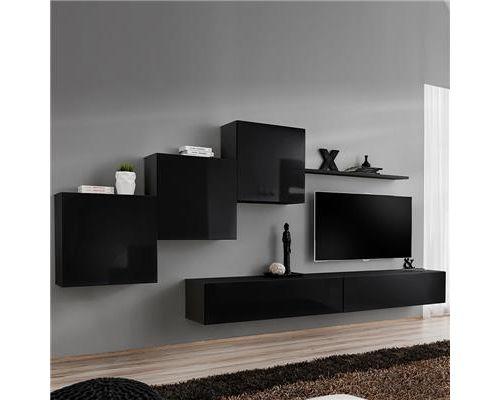 Meuble TV suspendu noir DUCCIO 4-L 330 x P 40 x H 160 cm- Noir