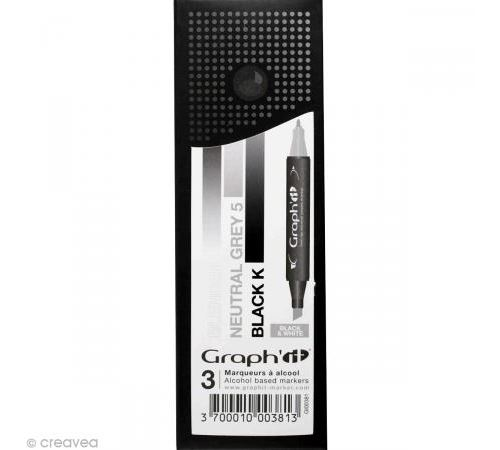 Set 3 Marqueurs à alcool Graph'it - Dégradé Black et White - Graph it